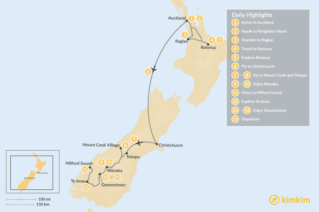 Map of Highlights of New Zealand: From North to South - 15 Days