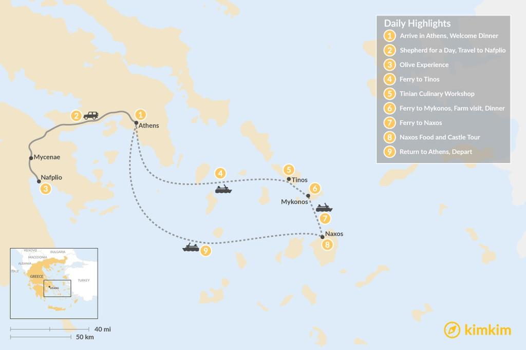 Map of Cyclades & Peloponnese Culinary Heritage - 9 Days