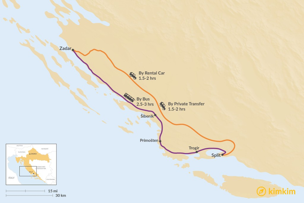 Map of How to Get from Zadar to Trogir