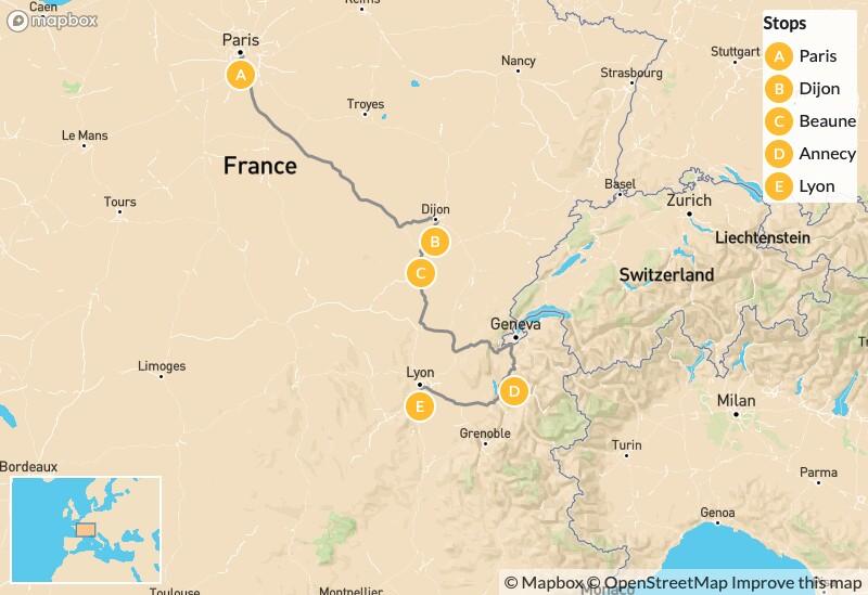 Map of Eastern France Roadtrip: Paris, Dijon, Beaune, Annecy, Lyon - 9 Days