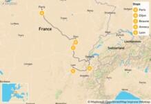 Map thumbnail of Eastern France Roadtrip: Paris, Dijon, Beaune, Annecy, Lyon - 9 Days