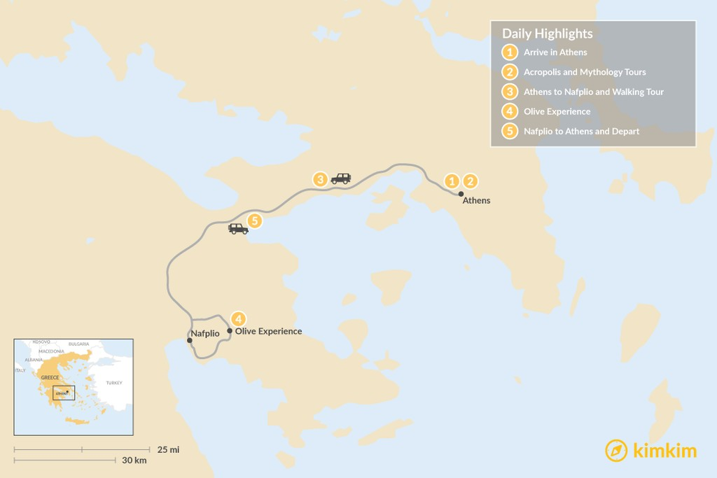 Map of Athens and Nafplio - 5 Days