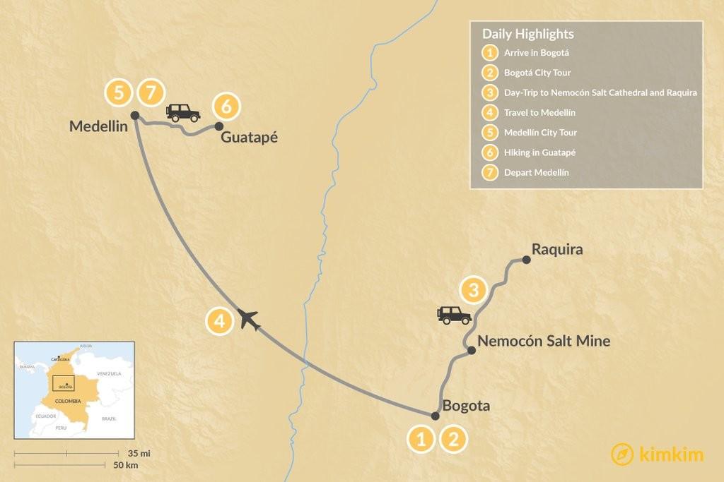 Map of Colombia's Urban Walking Tour: Bogotá & Medellín - 7 Days