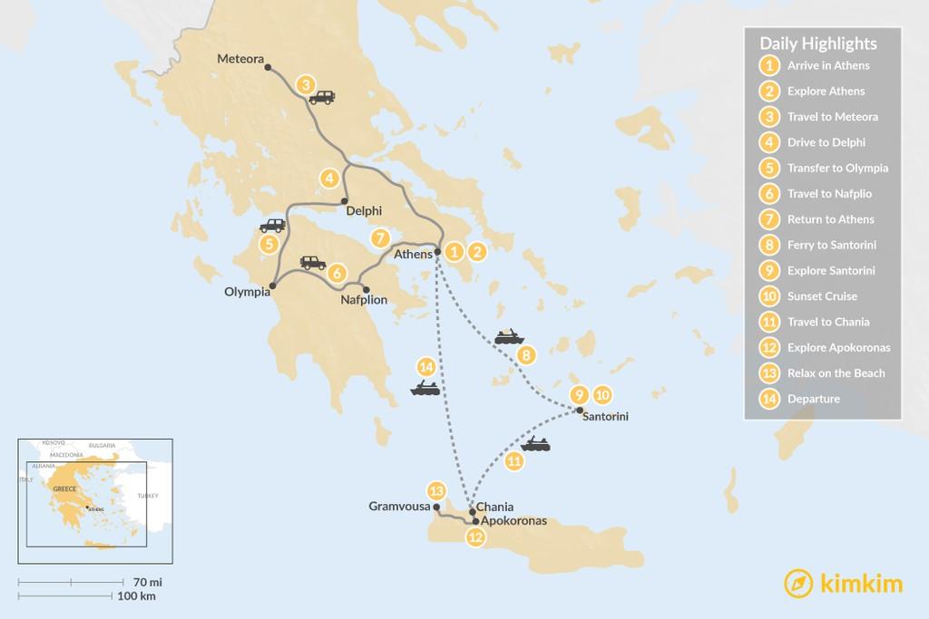 Map of Best of Greece: Mainland, Santorini & Crete - 14 Days