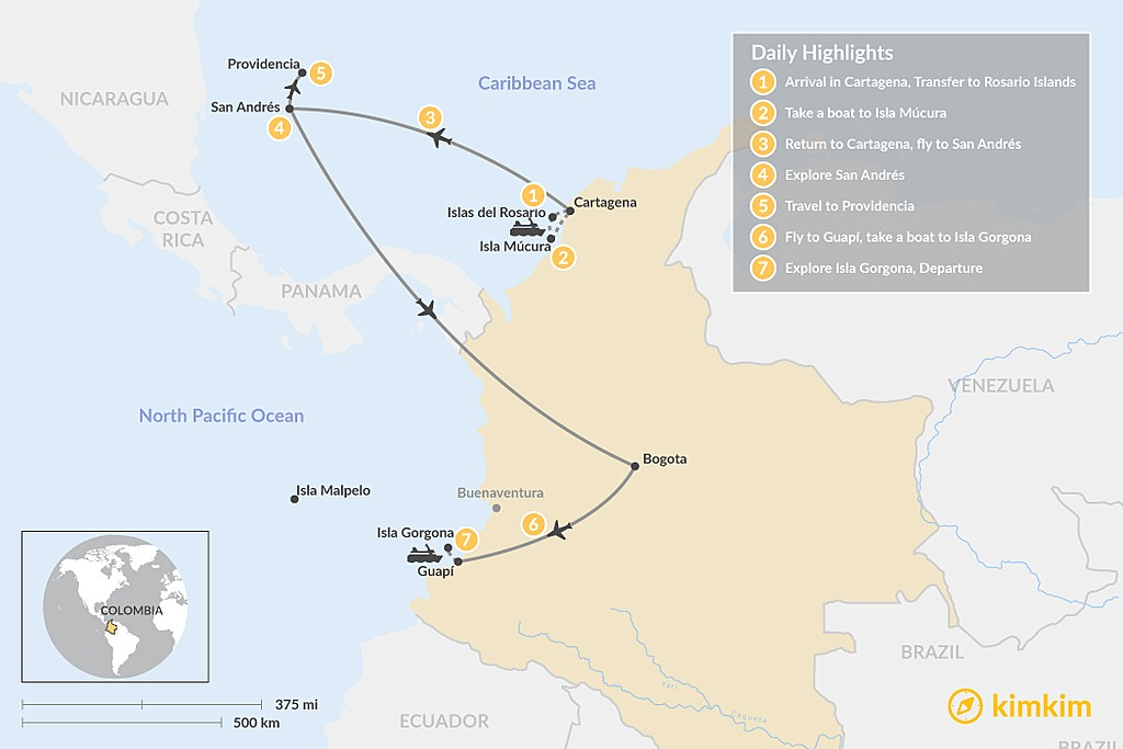 Map of Ultimate Guide to Island Hopping in Colombia