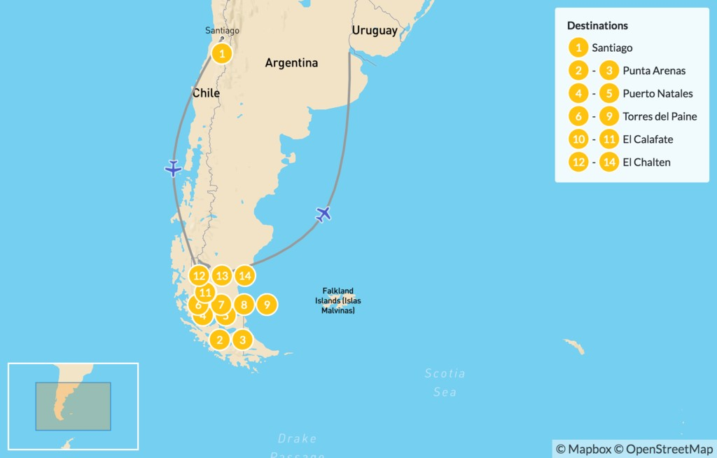 Map of Best of Southern Patagonia - 15 Days