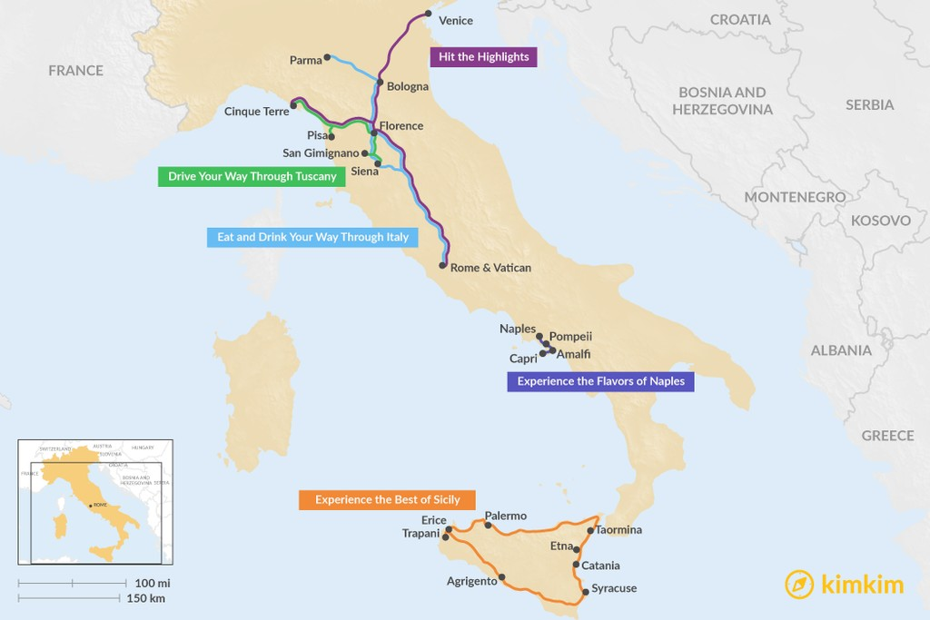 Map of 7 Days in Italy - 5 Unique Itinerary Ideas