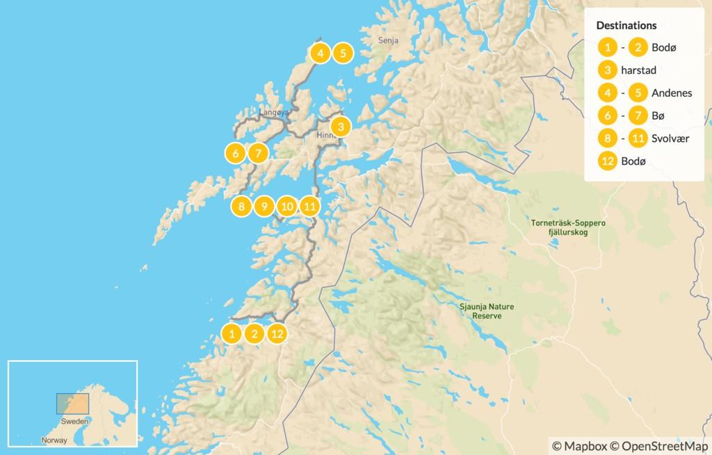 Map of Vesterålen & Lofoten Islands Road Trip - 13 Days