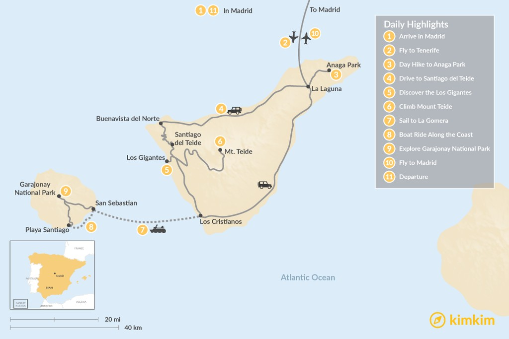 Map of Wild Canary Islands: Madrid, Tenerife & La Gomera - 11 Days