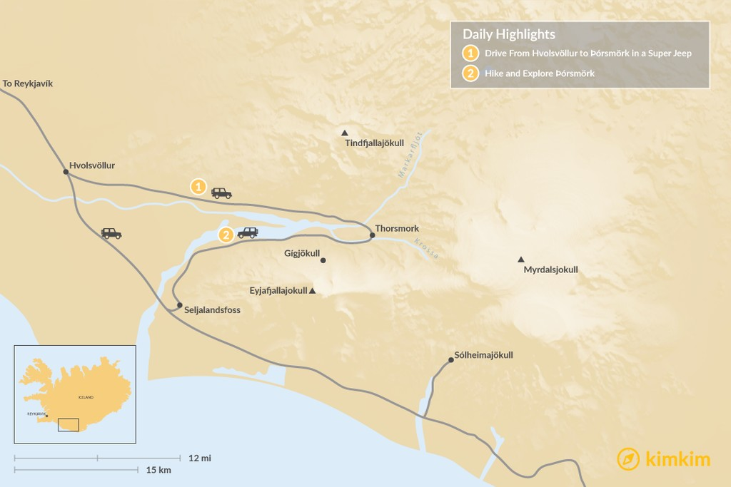 Map of Hiking in Thorsmork - 2 Days