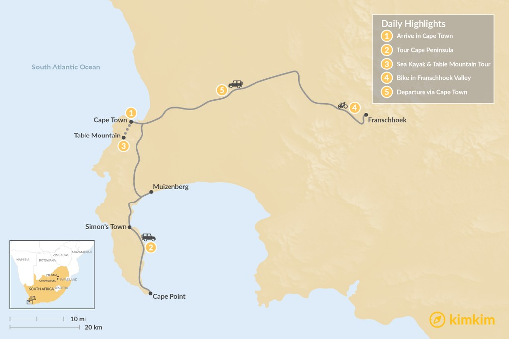 Map of South Africa Adventure: Cape Town & Winelands - 5 Days