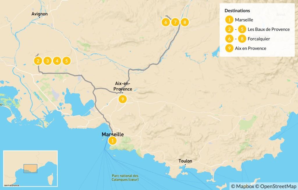 Map of Provence Road Trip: Marseille, Les Baux, Forcalquier & Aix - 10 Days