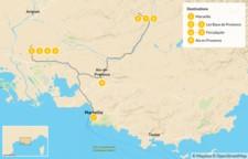 Map thumbnail of Provence Road Trip: Marseille, Les Baux, Forcalquier & Aix - 10 Days
