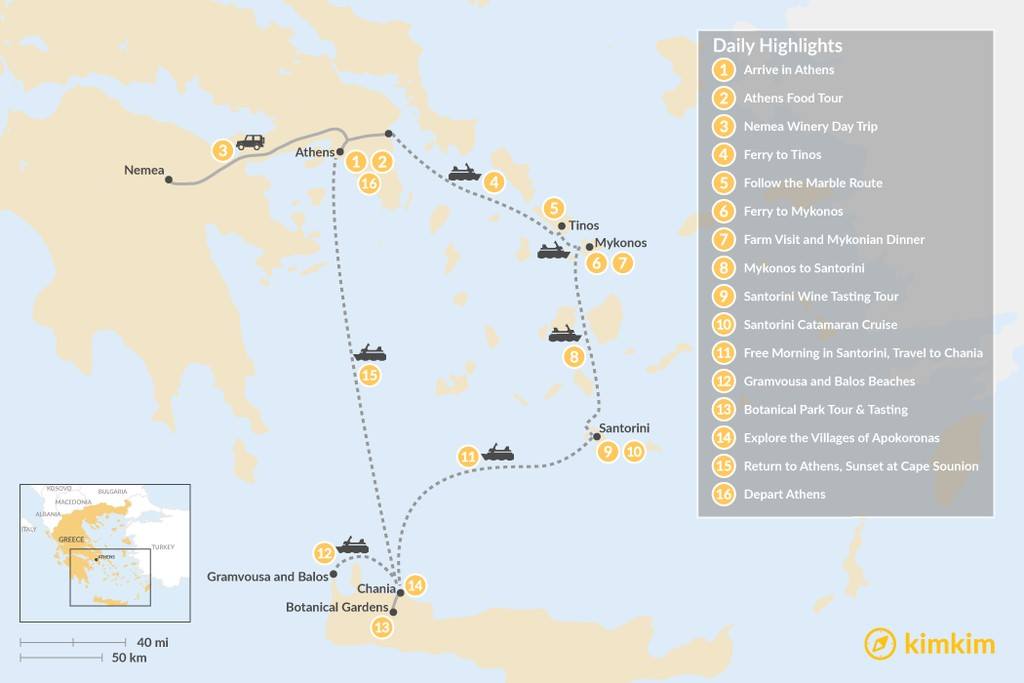 Map of Laid-Back Athens, Tinos, Mykonos, Santorini, and Crete - 16 Days