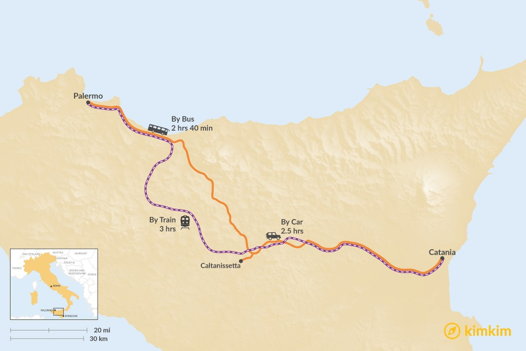 Map of How to Get from Palermo to Catania