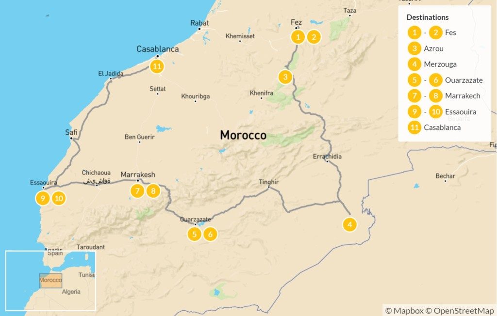 Map of Fes to Casablanca: Sahara Desert & Atlantic Coast - 12 Days