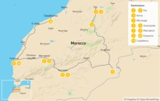Map thumbnail of Fes to Casablanca: Sahara Desert & Atlantic Coast - 12 Days
