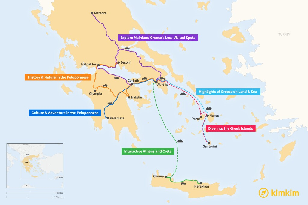Map of 10 Days in Greece - 6 Family-Friendly Itineraries