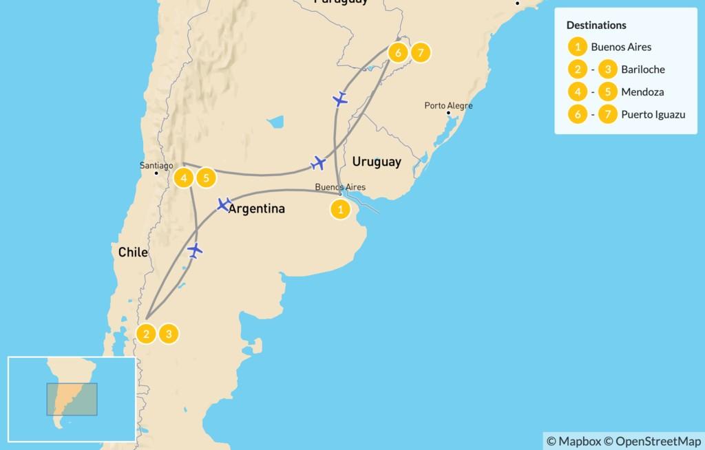 Map of Classic Argentina: Patagonia, Mendoza, & Iguazú - 8 Days