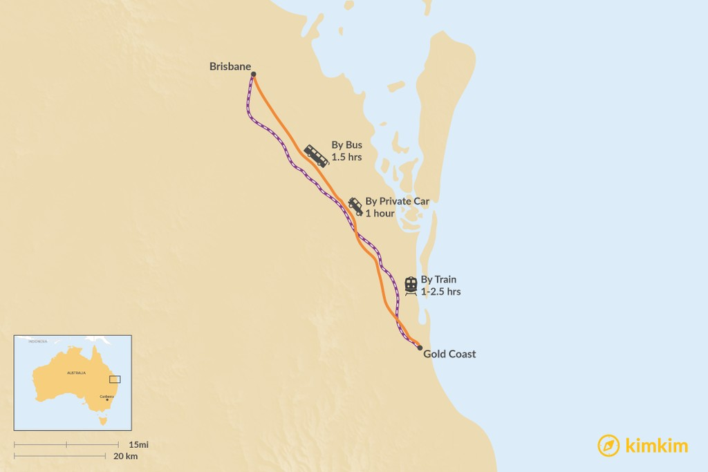 Map of How to Get from Brisbane to the Gold Coast