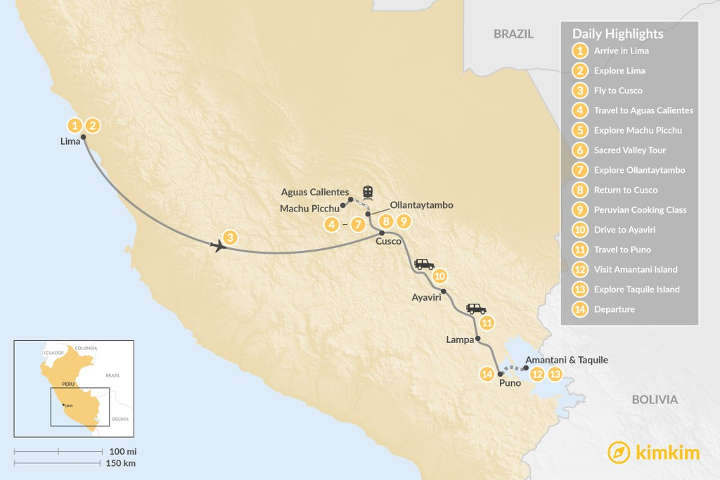 Map of Experience the Food and Drink of Peru - 14 Days