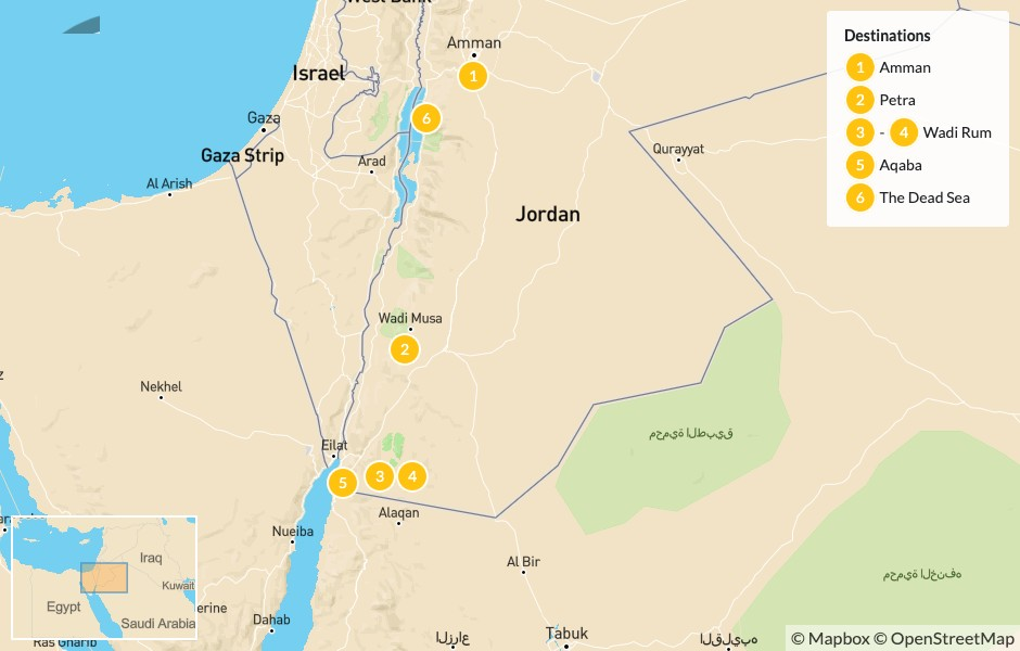 Map of The Family Friendly Tour: Amman, Petra, Wadi Rum & the Dead Sea - 7 Days