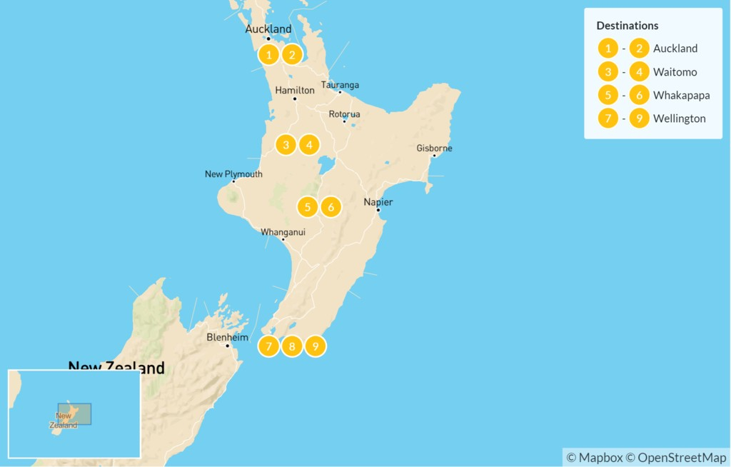 Map of New Zealand: 'Middle Earth' Family Tour of the North Island - 10 Days