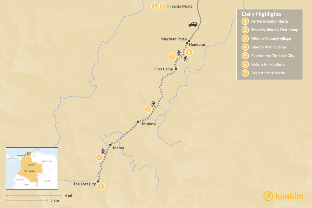 Map of The Lost City Trek - 7 Days
