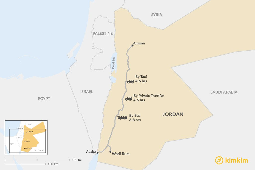 Map of How to Get from Amman to Wadi Rum