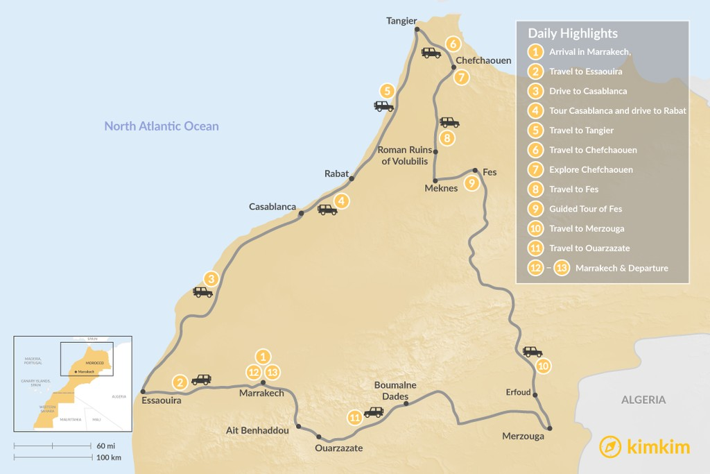 Map of Moroccan Tour: Atlantic Coast, Imperial Cities, & Sahara Desert - 13 Days