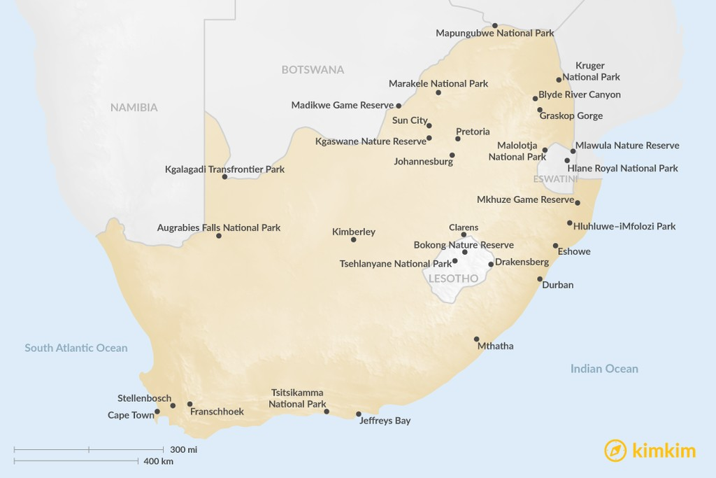 Map of Guide to South Africa's Top Regions: Where to Go for Safari, Culture, Hiking, & More