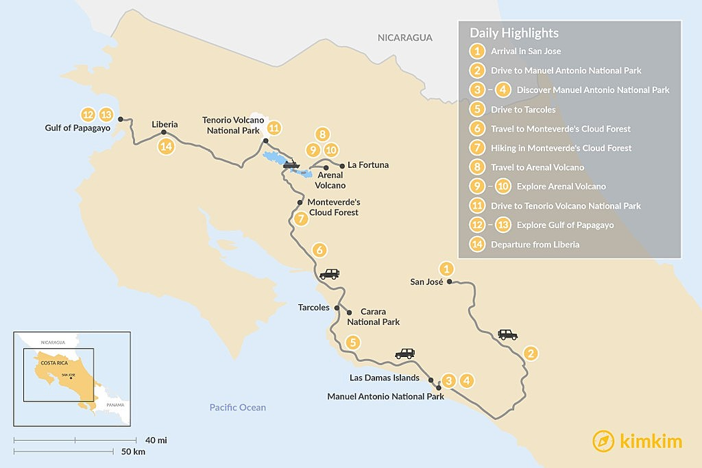 Map of Costa Rica Family Vacation: Volcanoes, Jungles, Beaches and Wildlife - 14 Days