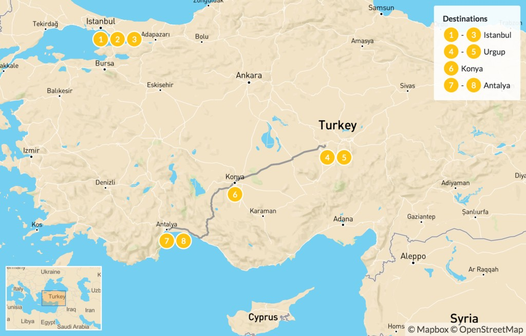 Map of Historic Turkey: Istanbul, Cappadocia, Konya - 9 Days