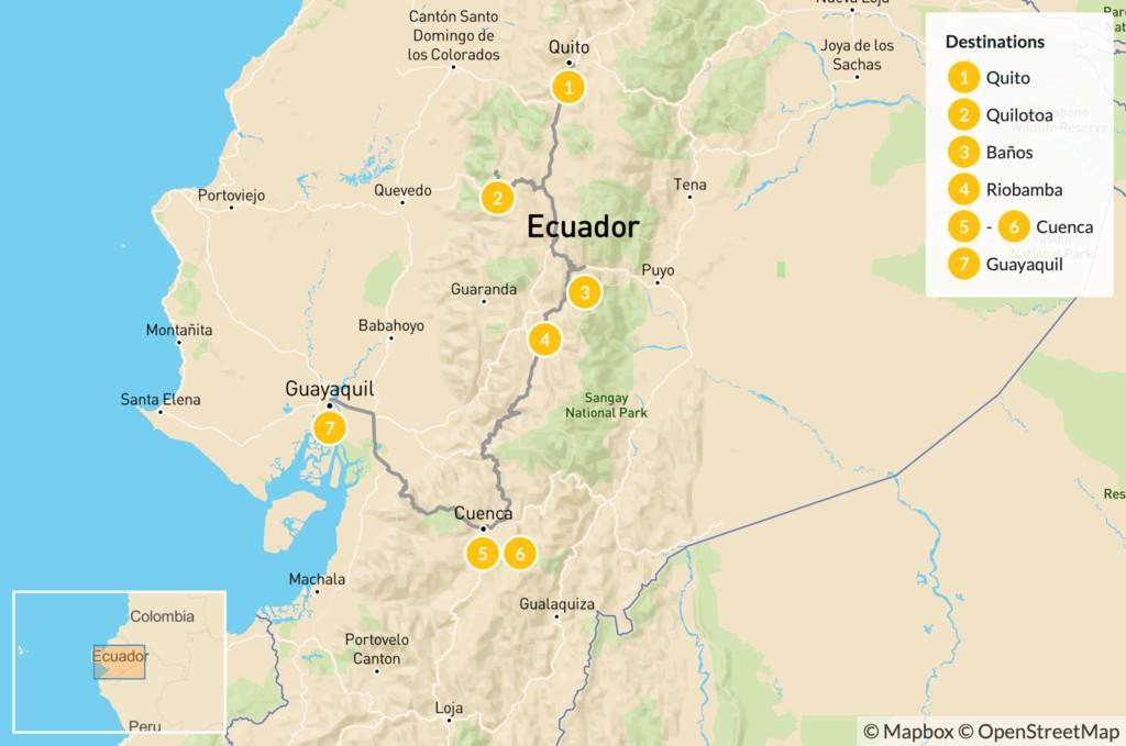 Map of Best of Ecuador: Quito, Quilotoa, Baños, Cuenca, & Guayaquil - 8 Days