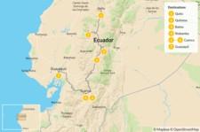 Map thumbnail of Best of Ecuador: Quito, Quilotoa, Baños, Cuenca, & Guayaquil - 8 Days