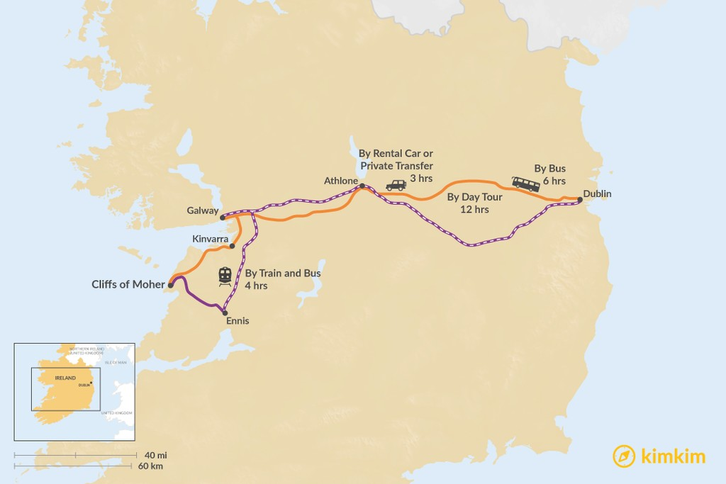 Map of How to Get from Dublin to the Cliffs of Moher