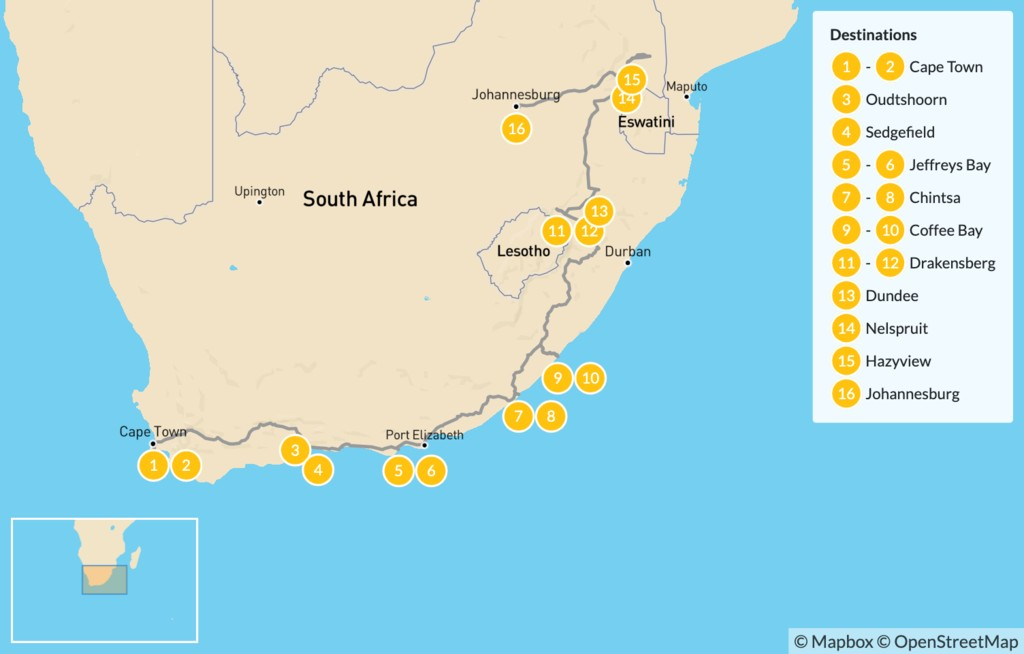 Map of  Country of Contrasts Road Trip: Cape Town, Garden Route, Wild Coast, Kruger National Park, & More - 16 Days