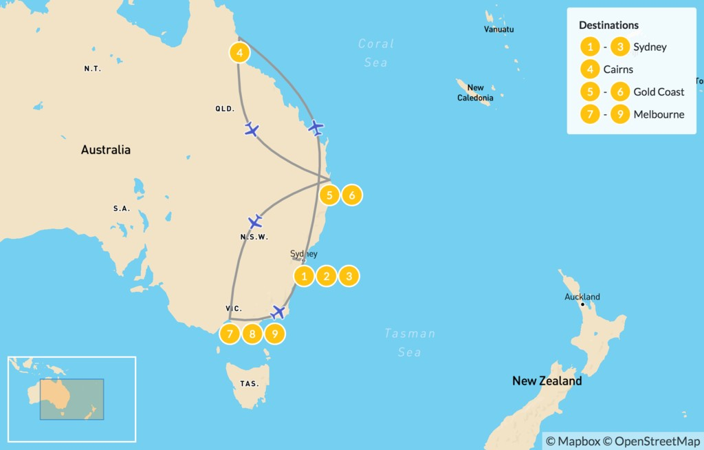 Map of Best of Eastern Australia: Sydney, Cairns, Gold Coast, & Melbourne - 10 Days
