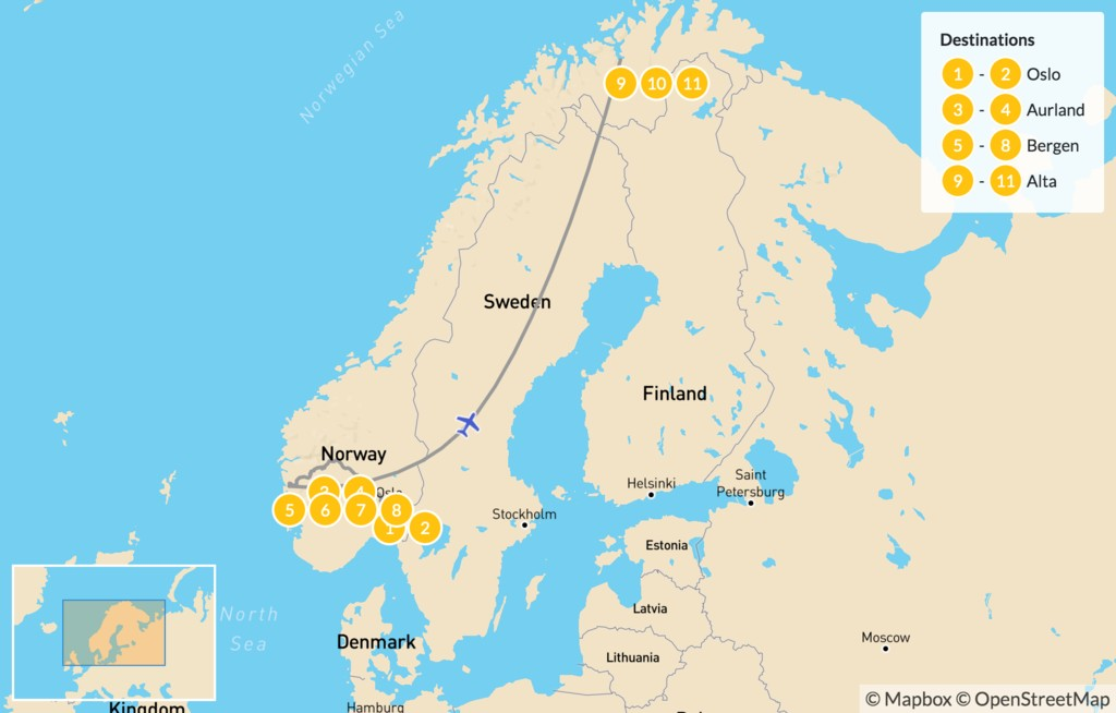 Map of Oslo, Bergen & Alta Winter Tour - 12 Days