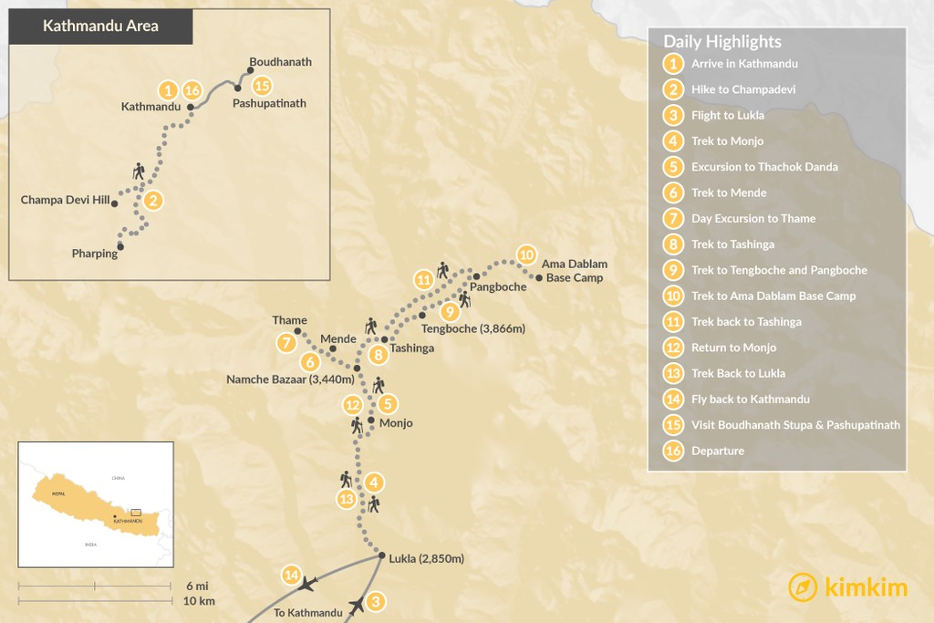 Map of Ama Dablam Luxury Trek - 16 Days
