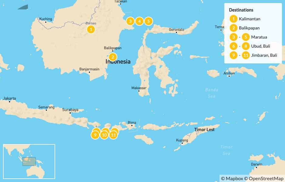 Map of Indonesian Escape: Borneo, Maratua, & Bali - 12 Days