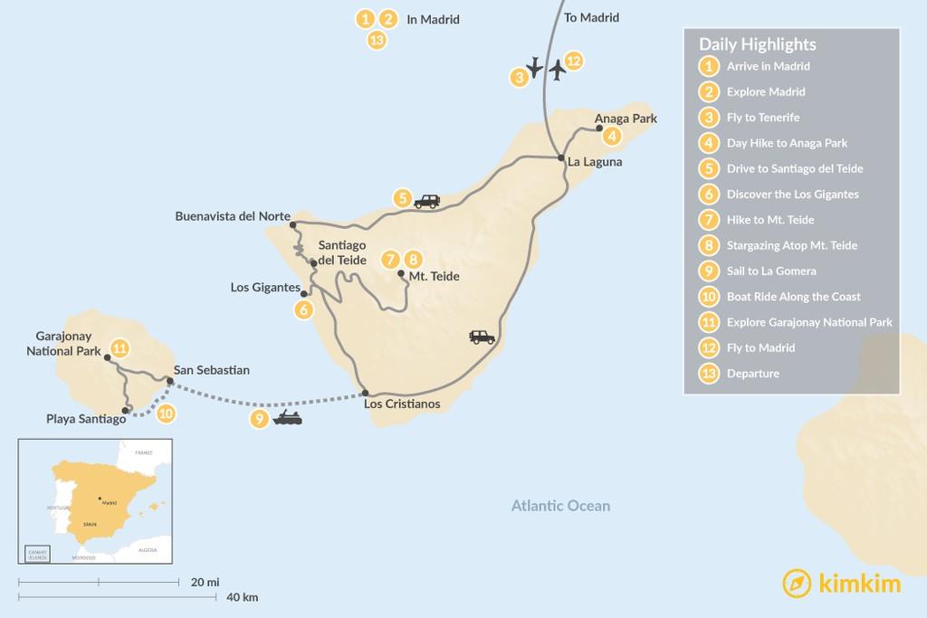 Map of Wild Canary Islands: Madrid, Tenerife & La Gomera - 13 Days