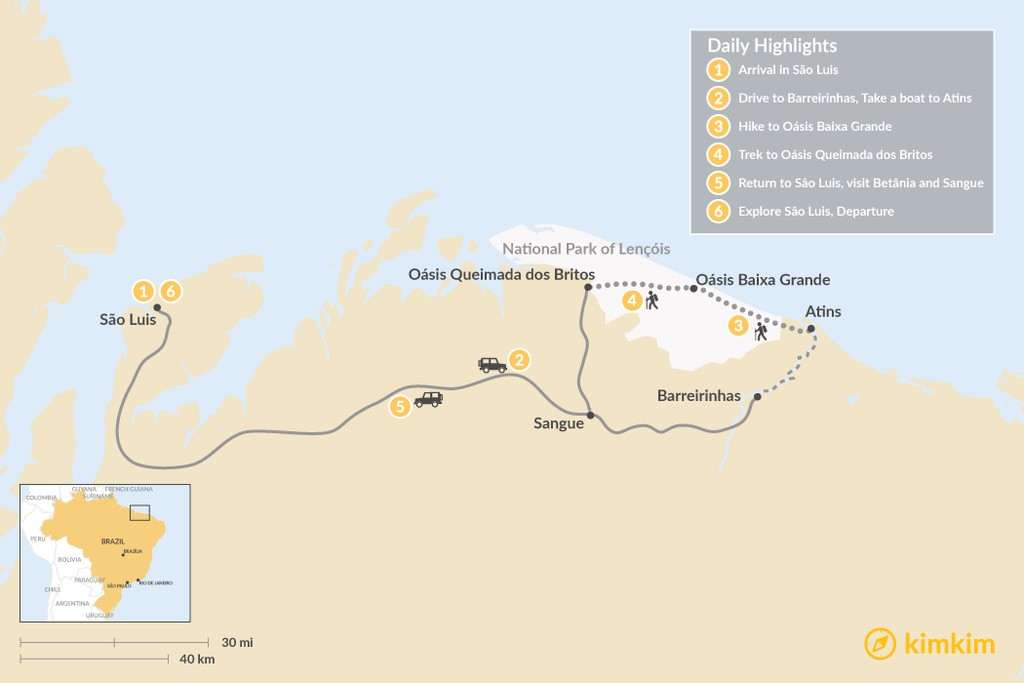 Map of Hiking the Dunes of Lençóis Maranhenses National Park - 6 Days
