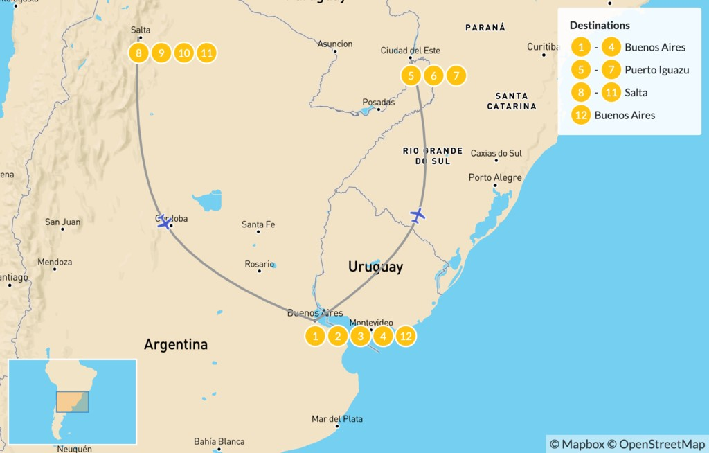 Map of Discover Northern Argentina - 13 Days