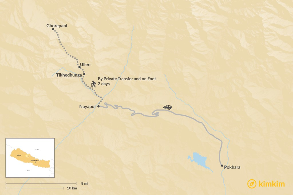 Map of How to Get from Pokhara to Ghorepani