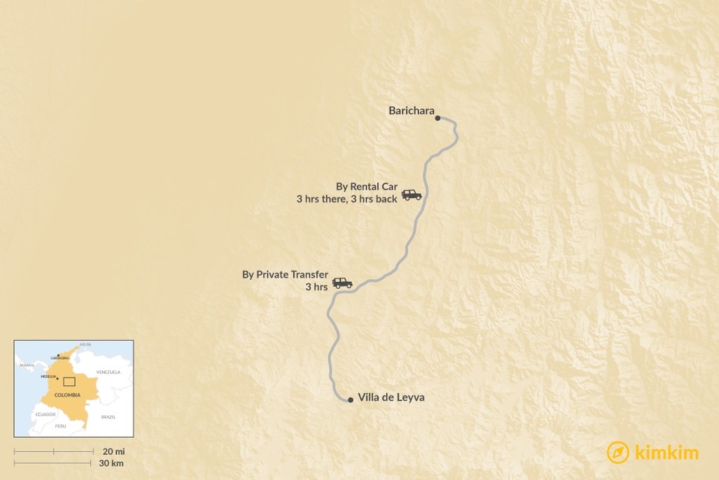 Map of How to Get from Villa de Leyva to Barichara