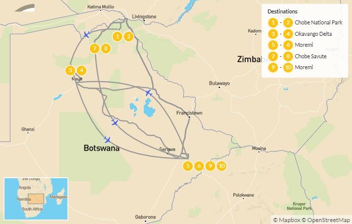 Map of Wild Botswana Safari - 11 Days