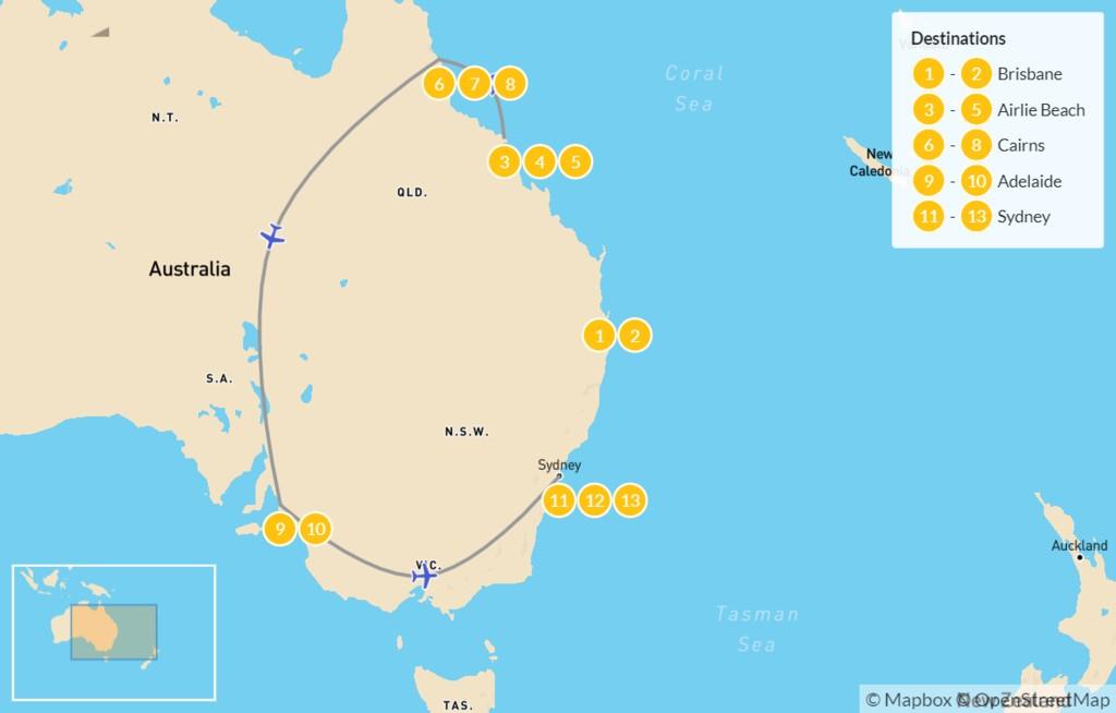 Map of East Coast Aussie Adventure: Brisbane, Airlie Beach, Cairns, Adelaide, & Sydney - 14 Days