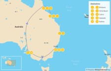 Map thumbnail of East Coast Aussie Adventure: Brisbane, Airlie Beach, Cairns, Adelaide, & Sydney - 14 Days