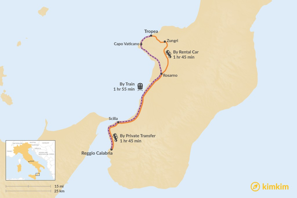 Map of How to Get from Tropea to Reggio Calabria